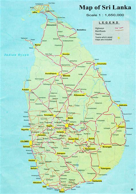 sri lanka large detailed road map large detailed road map