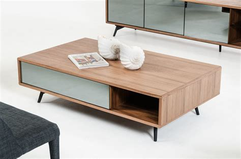 Designer Wooden Coffee Tables Modern Walnut And Mirrored Glass Coffee Table Philadelphia Pennsylvania Vig Kennedy