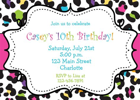 Birthday Invitations Browsing Exclusive Animal Print Themed Birthday Invitation Template