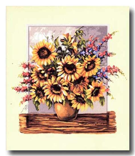 vaso con girasoli vaso con girasoli mezzo punto punto croce gobelin a