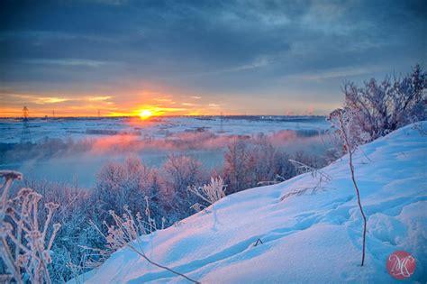 winter sunrise  hoar frost  mists miksmedia