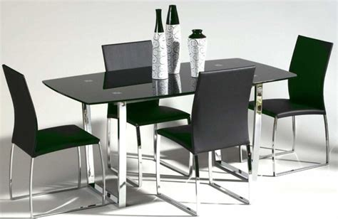 contemporary metal and glass top leather dining room