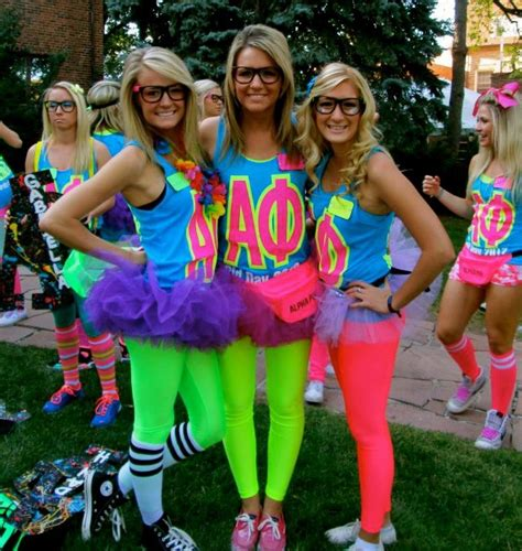 themed clothing days 80s a phi loving how everyone in this picture is a blonde