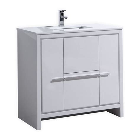 36 Modern Bathroom Vanity Kubebath Dolce 36 High Gloss White Modern Bathroom Vanity