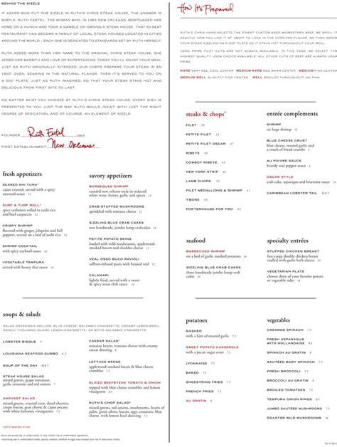 ruth chris ruth s chris menu