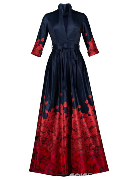 Dress The Fashion ericdress v neck belt ankle length print maxi dress