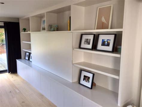 side units living room large bespoke media unit with side bookcase