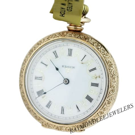 pre owned elgin yellow gold filled open pocket