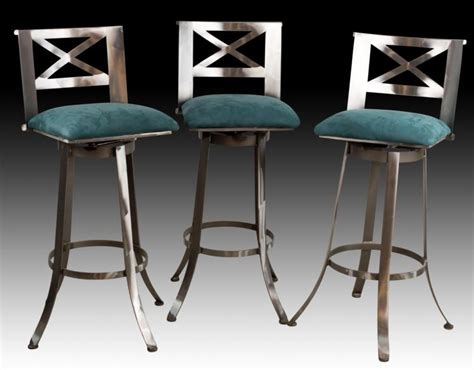 3 matching steel bar stools turquoise upholstery
