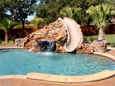 pool designs with slides swimming pools pool custom features beach entry slide