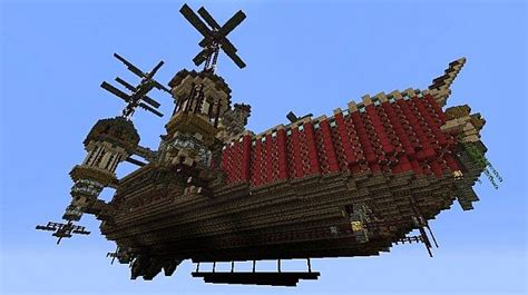 flying boat minecraft original steam punk build flying theater boat prima