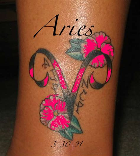 aries tattoos with flowers aries images designs