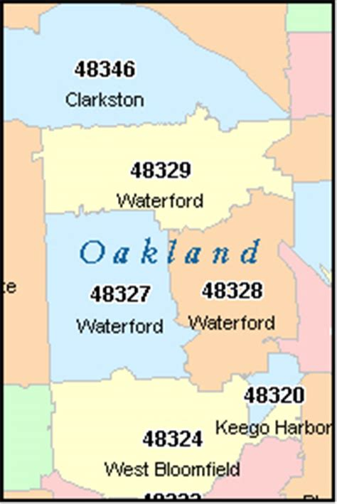 oakland zip code map oakland county michigan digital zip code map
