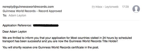 Email Records It S Official I Am A Guinness World Record Holder 12 Countries 24 Hours