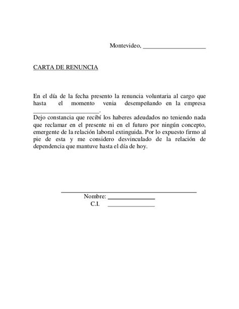 carta formal baja voluntaria carta baja voluntaria empleo ver gratis zooz1 plantillas