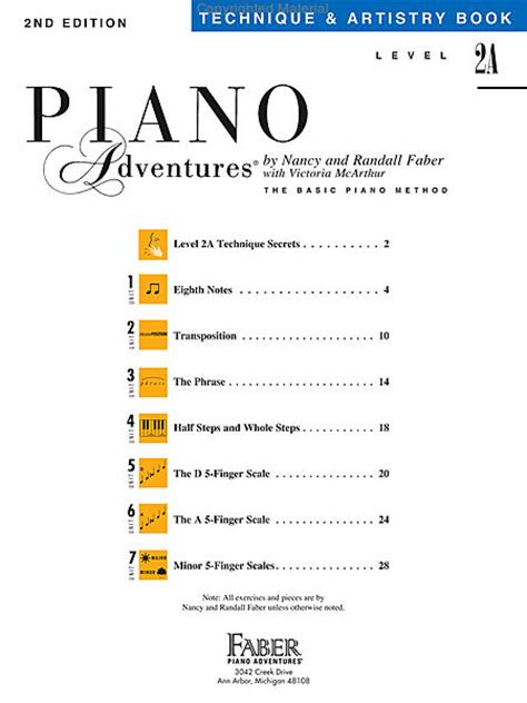Piano Adventures Technique Book 3a piano adventures level 2a technique artistry book sheet by nancy faber sku hl 420191