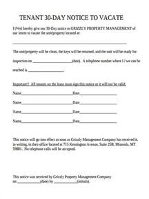 30 day notice to vacate landlord to tenant template 30 day notice to vacate form 5 free documents in word pdf