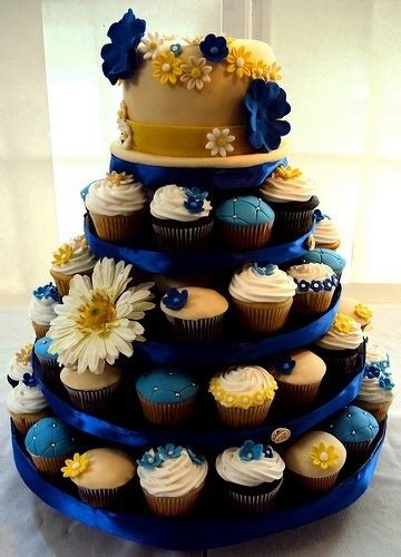 blue and yellow wedding cupcakes discover and save creative ideas