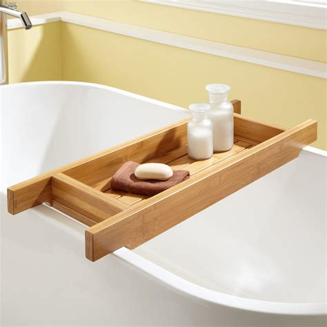 teak bathtub caddy 33 quot hancock bamboo tub caddy