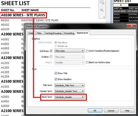 html format body text revit link revit schedules how to format headers