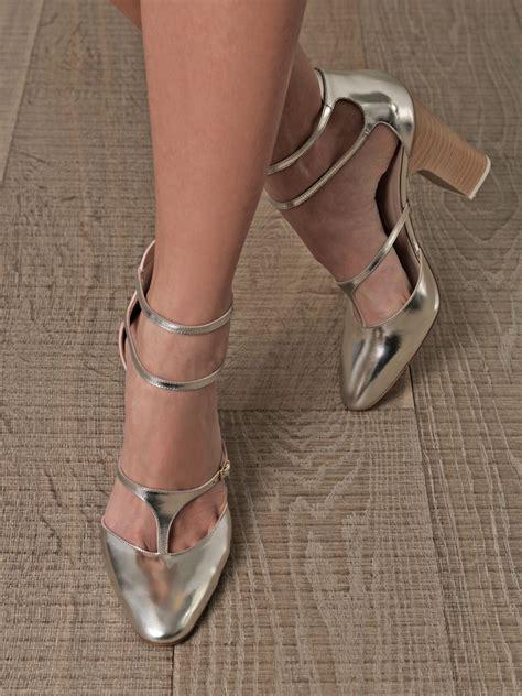 cloi shoes 0520 high heels lyst chlo 233 metallic leather block heel shoes in metallic
