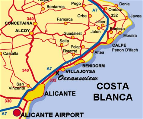 location and map of luxury villa for rent near alicante