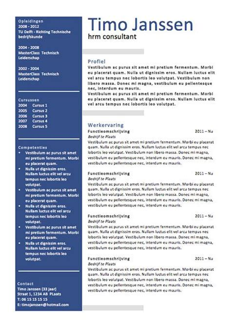 Cv Sjabloon Maken In Word cv sjabloon ms word cv sjablonen lifebrander