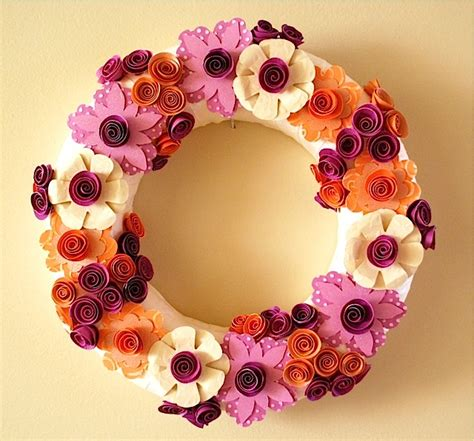 pretty paper flower wreath allfreepapercrafts