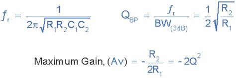 capacitor gain formula active band pass filter op band pass filter