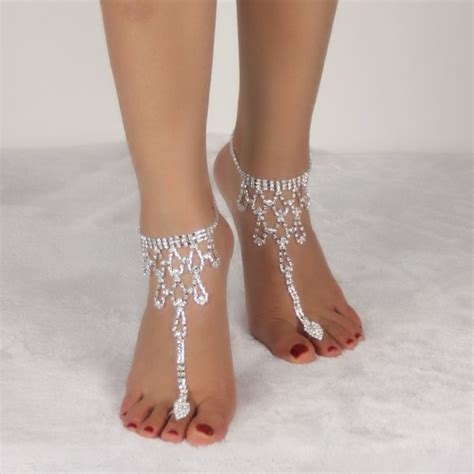 wholesale rhinestone teardrop toe ring anklet silver white