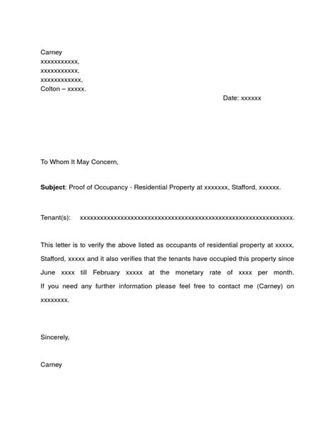 Rent Free Letter Confirming Living With Parents Residency Letter