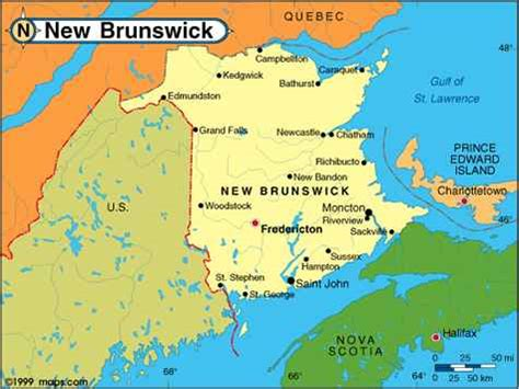 map of maine usa and new brunswick canada map of new brunswick canada