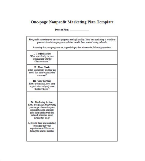 one page marketing plan template 16 free sle