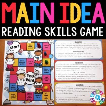 main idea  details activity main idea reading game