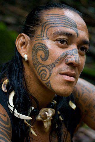 face tattoo style ancient polynesian marquesas tattooed