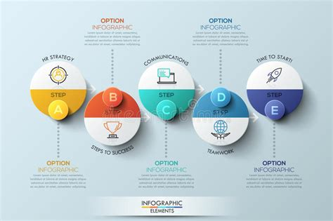 Infographic Design Template With Circular Elements 5 Steps To Success Business Concept Stock Graphic Design Project Management Template