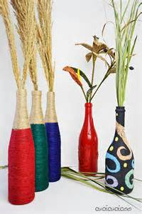 diy wine bottle vases with colored twine cucicucicoo