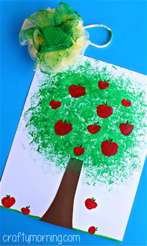 The Apple Switchers Project by Make An Apple Tree Craft Using A Pouf Sponge Crafty Morning