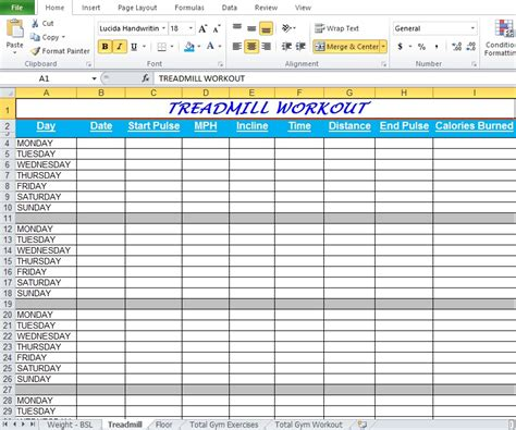 Workout Spreadsheets by Workout Plan Spreadsheet For Excel Excel Tmp