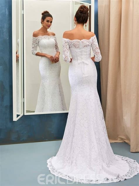 Shoulder Lace Wedding Dress ericdress lace mermaid the shoulder wedding dress with