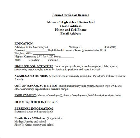 High School Senior Resume by High School Resume Template 9 Free Word Excel Pdf