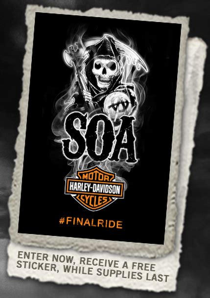 Automatically Enter Sweepstakes - free sons of anarchy harley davidson final ride sticker heavenly steals