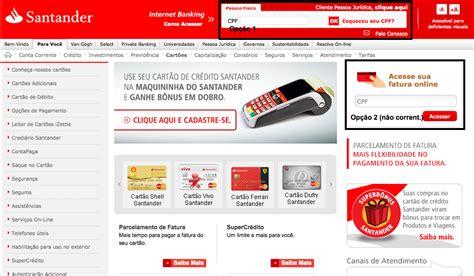 on line banco santander banco santander 2 via boleto cartao de credito creditoiner