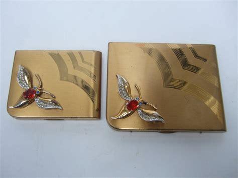 Fashion Bag Cig 10245 deco jeweled cigarette and vanity compact set c 1950 at 1stdibs
