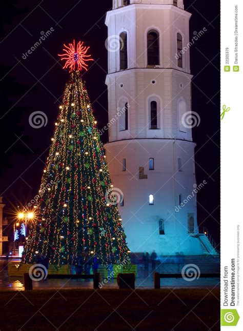 pictures of christmas trees with vertical lights tree with lights in vilnius lithuania royalty free stock images image 22305379