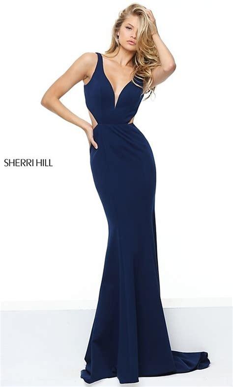 blue sherri hill long open  prom dress promgirl