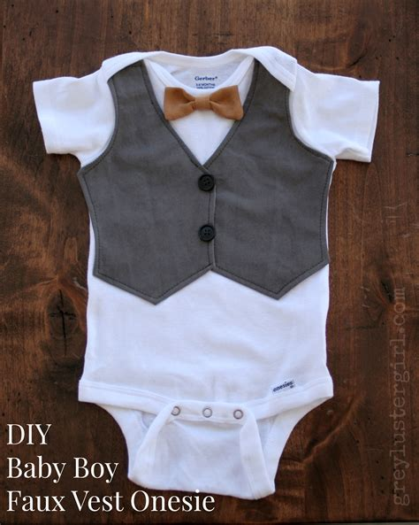 diy baby onesie with a bow tie free card template diy baby boy faux vest onesie