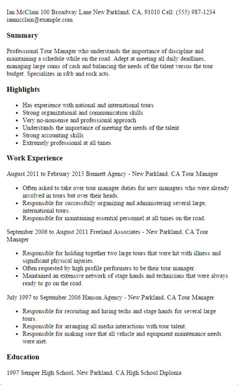 Tour Manager Sle Resume by Professional Tour Manager Templates To Showcase Your Talent Myperfectresume