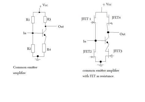 variable resistor output using jfets as variable resistors