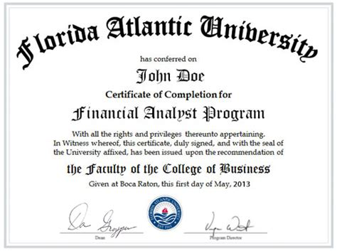 Executive Mba Florida Atlantic by Fau Fau Financial Analyst Program